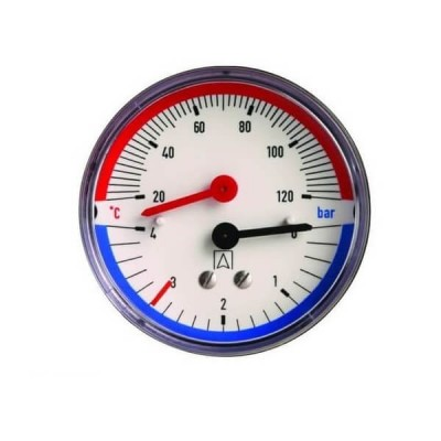 Термоманометр аксіальний 0-120°C 0-6 bar 1/2 63мм Ferro TM63A Afriso