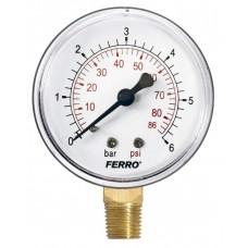 Манометр радиальный 0-6 bar 1/4 63мм Ferro M6306R