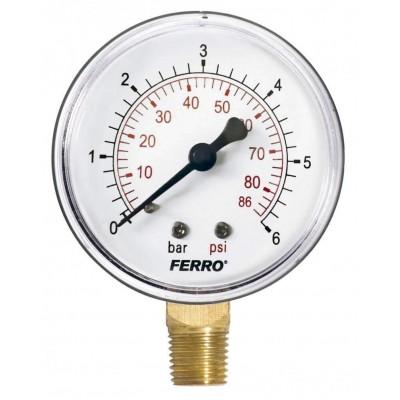 Манометр радіальний 0-6 bar 1/4 63мм Ferro M6306R Ferro