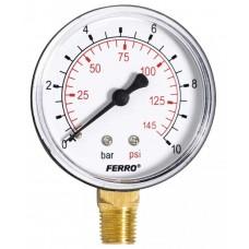 Манометр радиальный 0-10 bar 1/4 63мм Ferro M6310R