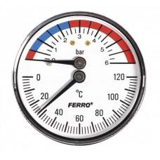 Термоманометр аксиальный 0-120°C 0-6 bar 1/2 63мм Ferro TM63A