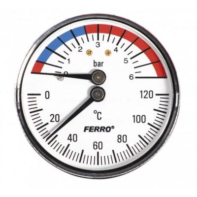 Термоманометр аксиальный 0-120°C 0-6 bar 1/2 63мм Ferro TM63A Ferro