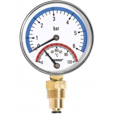 Термоманометр радиальный 0-120°C 0-6 bar 1/2 80мм Ferro TM80R