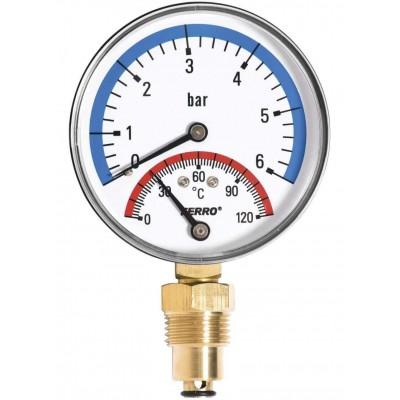 Термоманометр радиальный 0-120°C 0-6 bar 1/2 80мм Ferro TM80R Ferro