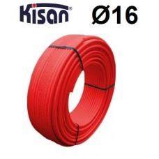 Труба металлопластиковая для теплого пола Kisan PE-RT/AL/PE 16x2.0 красная